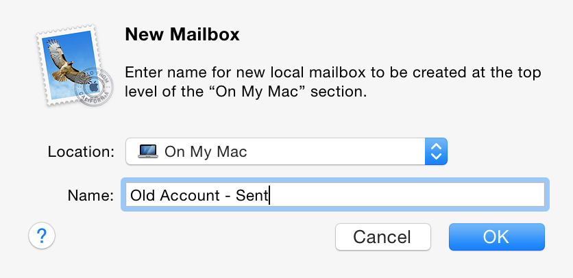 Creating a new mailbox in Apple Mail