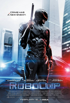 RoboCop 2014 movie poster: A robot police officer holds a gun and stands in front of his motorcycle