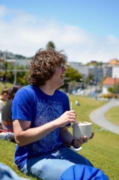 Coconuts and rum in Dolores Park. (San Francisco)