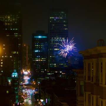 Illegal fireworks light up Chinatown. (San Francisco)