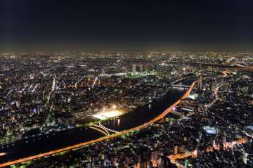 Tokyo lights from the top of Skytree tower. Six-image stack, 0.5 seconds each.
